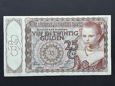 Netherlands 25 Gulden P60 Serial No. 7AR 090878 Dated 12th April 1944 aUNC