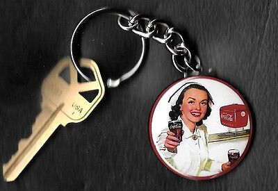 Coca-Cola NURSE COKE Keychain Key Chain 1950's