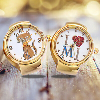 Lady Girl Round Elastic Alloy Quartz Watches Creative Finger Ring Watch Newest