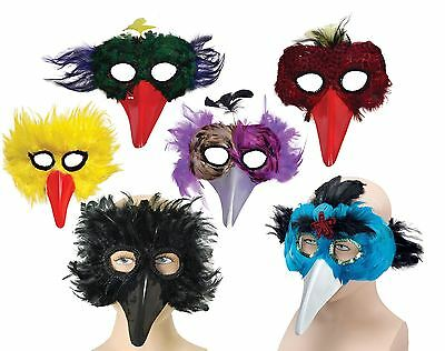 Feather Bird Eye Masks,beak,black/yellow/red/green/purple,masquerade/fancy Dress