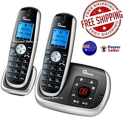 Cordless Phone Telephone 2x DECT Handsets with Answering Machine Intercom Office