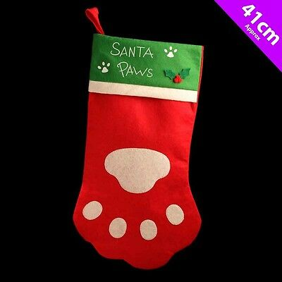 Christmas Santa Pet Cat Or Dog Stocking With Paw Print Design