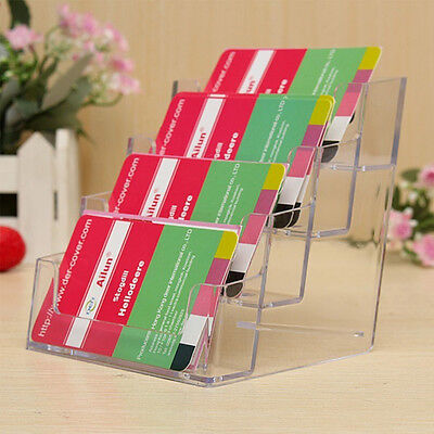 4 Pocket Desktop Clear Acrylic Business Card Holder Countertop Display Stand RO