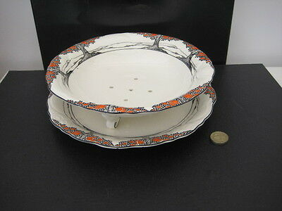 Very Rare Vintage Crown Ducal Orange Tree Footed Cress Dish And Underplate