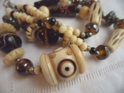 VINTAGE RESIN and GLASS BEAD ETHNIC NECKLACE with OLD TRIBAL SILVER COIN BEADS