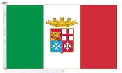 Italy Navy Ensign Roped & Toggled 5' x 3' Courtesy Boat Flag