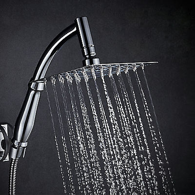8 Inch Stainless steel Adjustable Square Rainfall Shower Head with Shower Arm