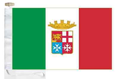Italy Navy Ensign Courtesy Boat Flag Roped & Toggled