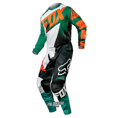 Fox 180 Vandal Vert Orange KTM Equipement Motocross Kit Maillot Pantalon Enduro