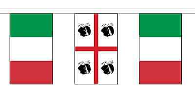 Italy Sardinia & Italy Polyester Flag Bunting - 20m with 56 Flags