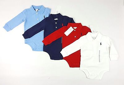 Baby Boys Polo Ralph Lauren Long Sleeve Polo Shirt Baby Grow Vest Romper RRP £35
