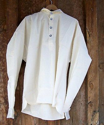 Civil War Off White Muslin  Shirt With Pewter Buttons   Large