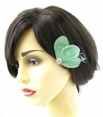 Mint Green Silver Peacock Feather Fascinator Hair Clip Vtg 1920s Pin Flapper 680