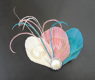 Blush Pink Blue Ivory Cream Silver Peacock Feather Fascinator Hair Clip Vtg 682