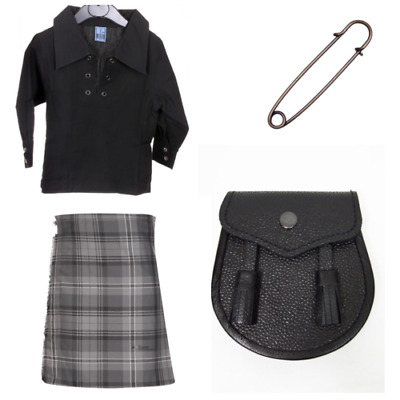 New Scottish Sporran Tartan Childs Kids Full Kilt 4 Piece Set Hamilton Grey