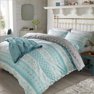 Christmas Nordic Duvet Cover Thermal 100% Brushed Cotton Xmas Bedding Set