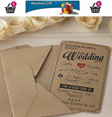 10 WEDDING INVITATIONS with ENVELOPES - VINTAGE AFFAIR KRAFT STYLE High Quality