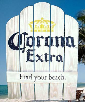 CORONA EXTRA BEER FIND YOUR BEACH CHAIRBACK WOOD 21x28 TROPICAL BAR WALL SIGN