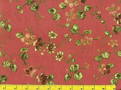 Hot Pink Flowers w// Leafy Branches on Brown Quilting Fabric by Yard #697