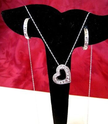 Michael Anthony 10K White Gold Textured Hoop Earrings And Heart Necklace Set