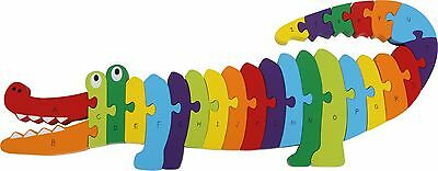 Wooden Crocodile ABC Jigsaw puzzle Multi Coloured Learning Tool Alphabet Kids