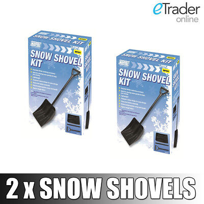 2 x FOLDING SNOW SHOVEL SHOVELS METAL WINTER COMPACT SPADE CAR VAN TRAVEL NEW x2
