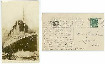 1912 Steamship Titanic memorial post-sinking Real Photo pc - posted Canada 1912