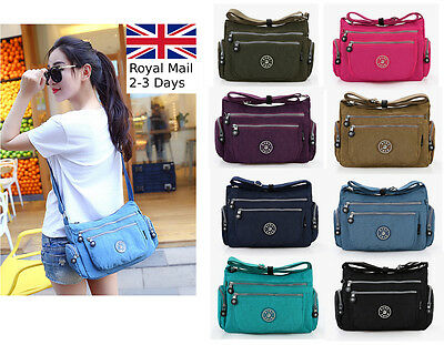 Women Waterproof Nylon Causal Shoulder Cross body Messenger Zipper Pockets