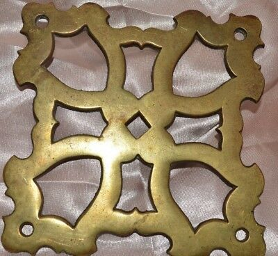 "Antique Brass Cut Out Design Hardware Plate Accent Appliqué 3.75"" Tall & Wide"