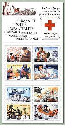 france 2015 booklet red cross humanity united  independance- croix rouge 8v mnh