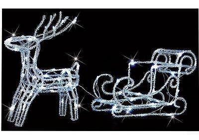 Outdoor Christmas Reindeer & Sleigh 64 Twinkling Leds Xmas In/outdoor Decoration