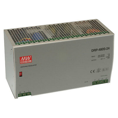 Mean Well DRP-480S-24 AC to DC DIN-Rail Power Supply 24 Volt 20 Amp 480 Watt
