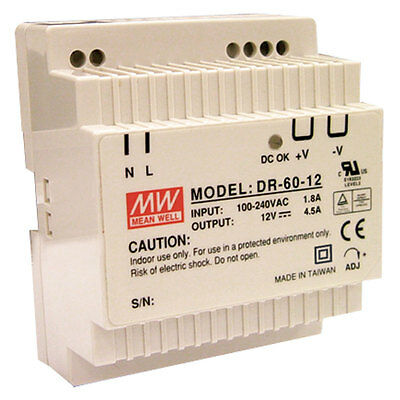 Mean Well DR-60-24 AC to DC DIN-Rail Power Supply 24 Volt 2.5 Amp 60 Watt