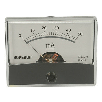 "PANEL METER,ANALOG,DC CURRENT, 0-50mA,2.4""X1.9"""