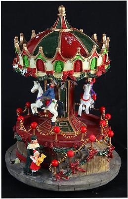 Traditional Xmas Model Revolving Carousel - 23cm Led Christmas Decoration
