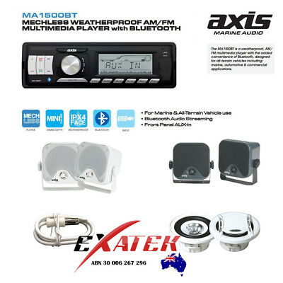 AXIS MA1500BT Black Marine Waterproof Audio Kit MP3/USB/AM/FM/Ipod  Boat Stereo