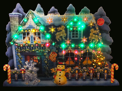 Illuminated Christmas Home Lights and Melody Pop Up Greeting Card