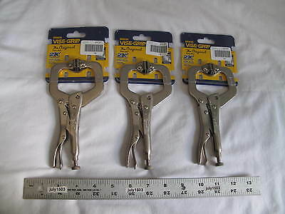 "(3) New Irwin 6"" Vise-Grip Locking C-Clamp 6SP, 2-1/8"" Capacity, free shipping!"