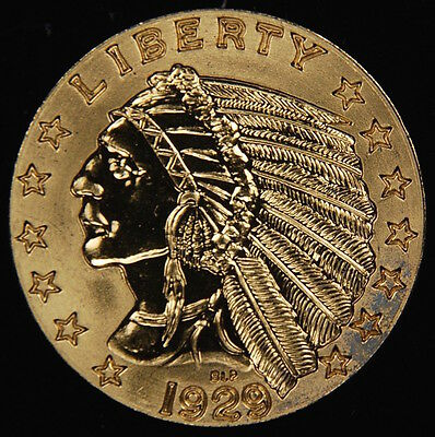 1929 $5 Gold Indian Coin Proof Uncirculated Copy