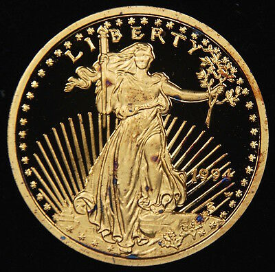 1994 $5 Gold Eagle Coin Proof Uncirculated Copy 24k Gold Plated