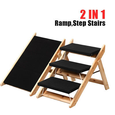 Folding Portable 3 Steps Pet Dog Cat Stairs Ramp Ladder With Washable Cover