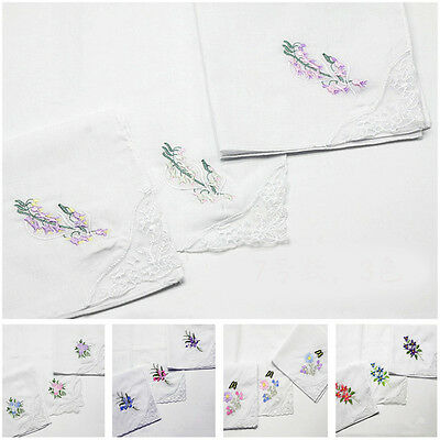 """Ladies 10pcs White Thin Embroidered Handkerchiefs Flowers Lace Edge 11.4*11.4"""""""