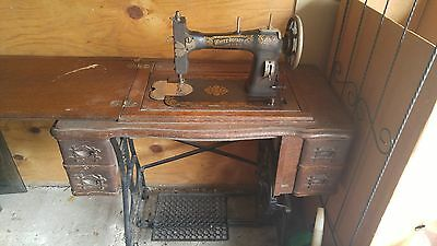Antique 1913 White Rotary Sewing Machine With Cabinet Table