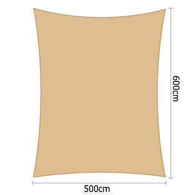 Heavy Duty Rectangle Shade Sail Canopy 5x6m Sand Beige Outdoor Patio Accessories