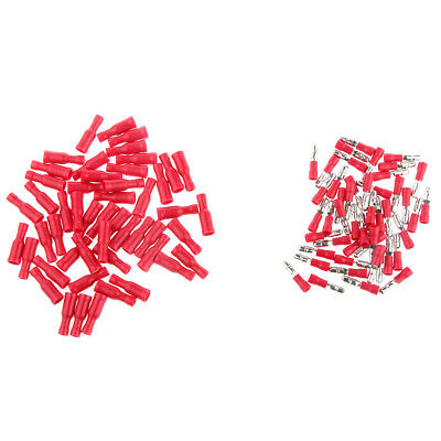 100pcs Wire Bullet Connector Red Vinyl 16-14 AWG Gauge Car Audio Radio Stereo