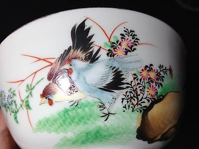 """Antique Chinese chicken Bowl D 4 4/5""""  H 2 3/10"""""""