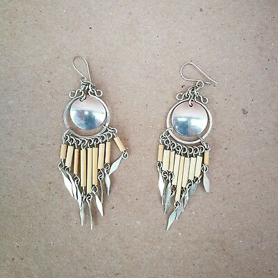 Bamboo Drops & Silver-Coloured Metal Disc Ethnic Earrings Hand-crafted in Chile