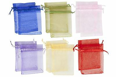 Organza Gift Bags Mixed Colours Jewellery Pouch Wedding Favour 12 Pk