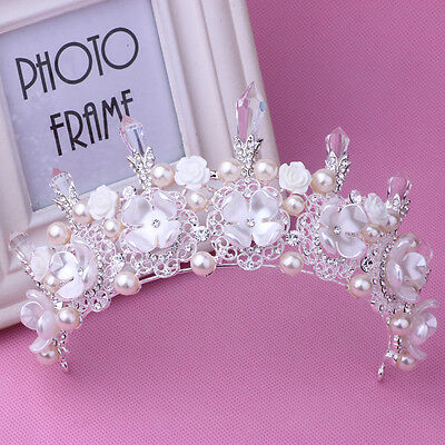 Hot Bridal Flower Prom Wedding Pageant Veil Rhinestone Crystal Pearl Crown Tiara