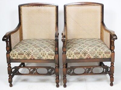 Antique Pair of Mahogany Caned Library Bergere Armhairs - FREE Delivery [PL2529]